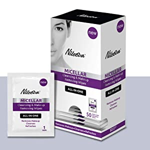 Nileeva Visage Collection Micellar Makeup Remover Cleansing Cloths and Daily Cleansing Facial Wipes to Remove Makeup and Mascara Sachets (50 Packs (1 Count))