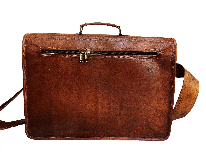 Vintage Handmade Leather Messenger Bag for Laptop Briefcase Best Computer Satchel School distressed Bag (18 INCH) by jsm (Image #3)