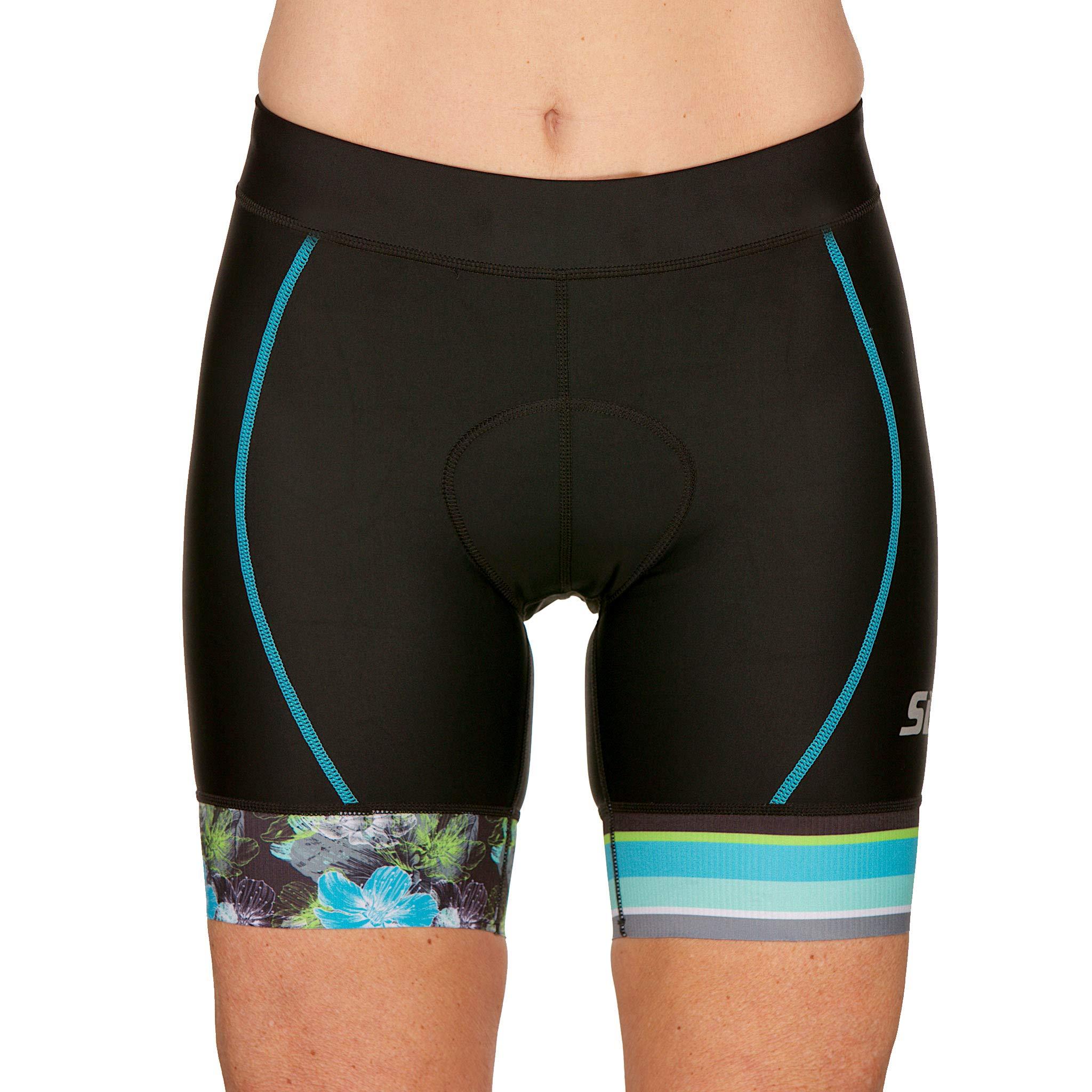 SLS3 Women's Triathlon Shorts | 6 inch FX Tri Short for Women Black | Super Comfy with Soft Chamois | German Designed (Black/Martinica Blue, XS)
