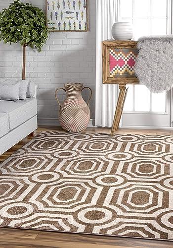Fernando Beige White Modern Mediterranean Microfiber 5×7 5 3 x 7 3 Area Rug Moroccan Tile Carpet