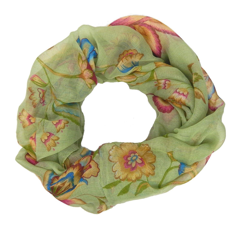 Ella Jonte womens scarf snood loop tube green flower print