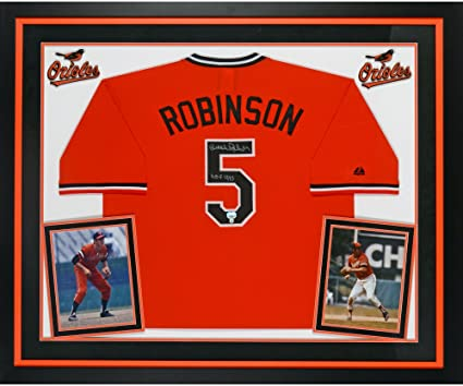 3c87993a62a Brooks Robinson Baltimore Orioles Deluxe Framed Autographed Orange  Throwback Jersey with quot HOF 1983 quot  Inscription