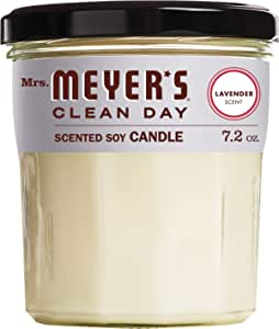 Mrs. Meyer's Clean Day Scented Soy Aromatherapy Candle, 35 Hour Burn Time, Made with Soy Wax and Essential Oils, Lavender, 7.2 oz