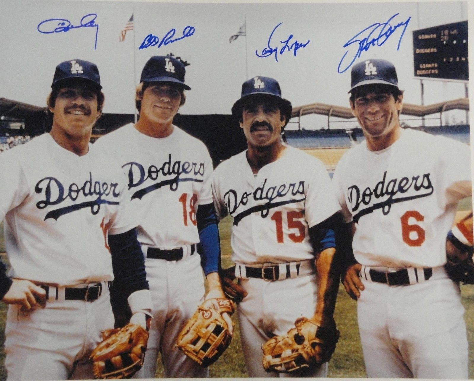 Ron Cey Davey Lopes Steve Garvey Russell Signed Dodgers Infield 16x20 Photo Hor
