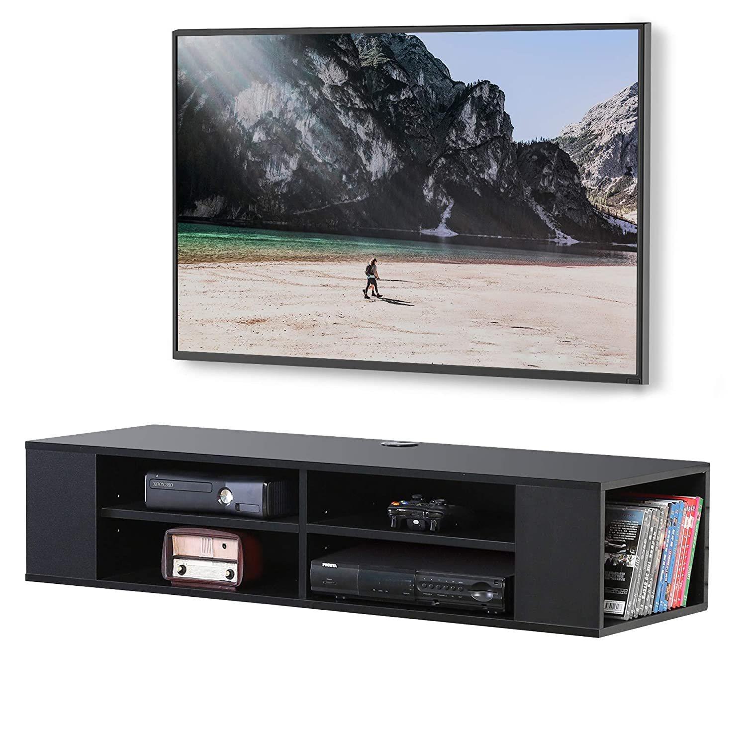 FITUEYES Black Wall Mounted Media Console Floating TV Stand Component Shelf DS210003WB
