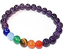 Chakra Healing Semi-Precious Stone Bead and Buddha Stretchy Elastic Bracelet, 10mm, Unisex, Friendship, Couples