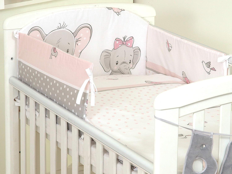Bumper Pillow CASE 3PCS Baby Bedding Set fit Cot 120x60 or Cot Bed140x70CM Duvet Cover COT 120X60, Hippo- Grey