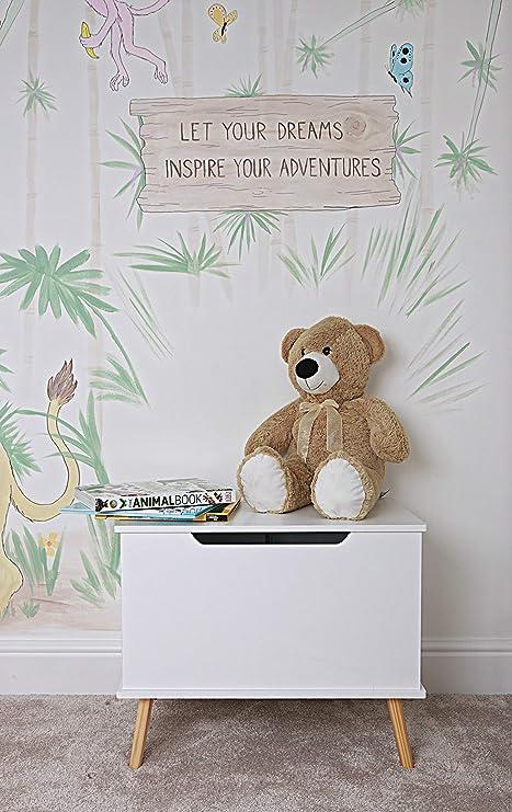 HomeZone - Caja de madera para juguetes con tapa de cierre suave y patas de madera, tamaño grande, color blanco Caja otomana de almacenamiento para dormitorio o guardería: Amazon.es: Hogar