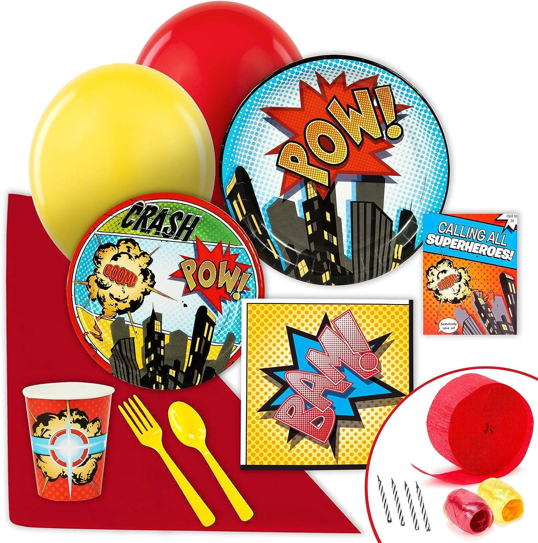 Value Party Pack Birthday Express AX-AY-ABHI-64171 BirthdayExpress Superhero Comics Party Supplies