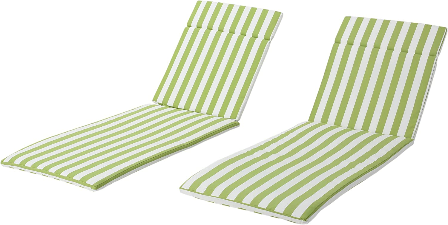 Christopher Knight Home Salem Outdoor Water Resistant Chaise Lounge Cushions, 2-Pcs Set, Green And White Stripe