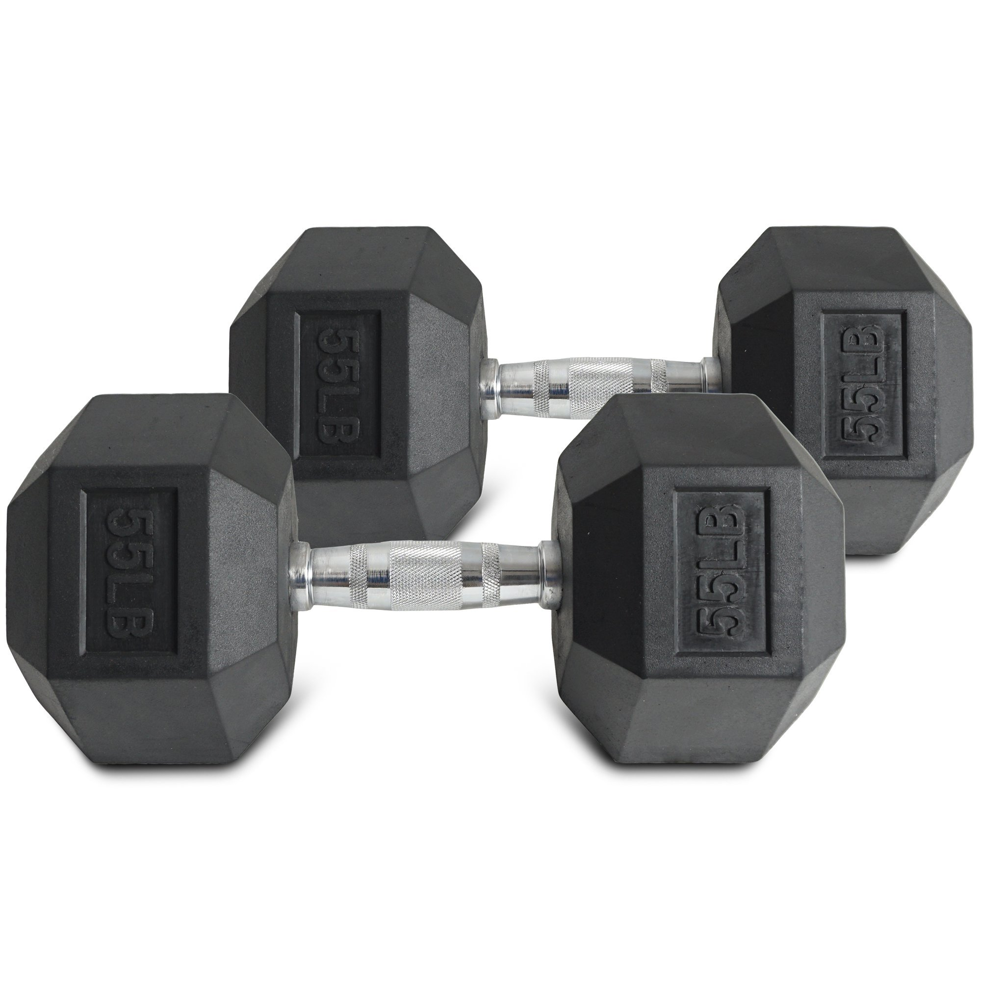 Pair 55 lb Black Rubber Coated Hex Dumbbells Weight Training Set 110 lb Fitness by Titan Fitness (Image #3)