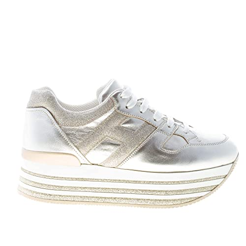 5b4954f03f39 Hogan Donna Maxi H222 Sneaker in Pelle Oro Pallido con Dettagli Glitter  Color Oro Size 39  Amazon.it  Scarpe e borse
