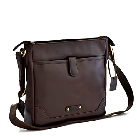 03d75b8eb739 Style n Craft 392001 Cross Body Messenger Bag in Full Grain Leather, Dark  Brown