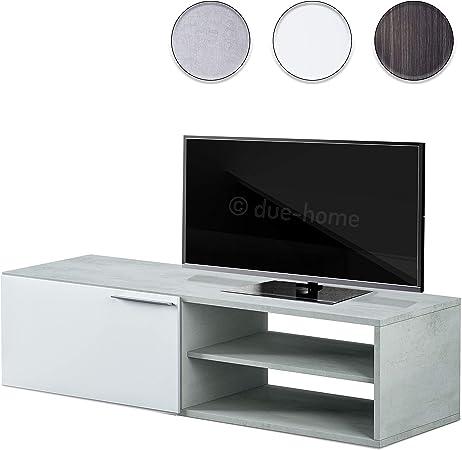 Habitdesign 016670L - Modulo de Comedor, Mueble TV Kikua, modulo Acabado en Blanco Artik y Cemento, Medidas: 35 x 130 x 42 cm: Amazon.es: Hogar