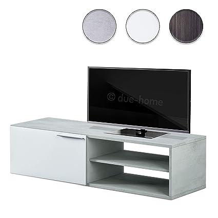 Habitdesign 016670L Modulo de Comedor, Mueble TV Kikua, Blanco Artik y Cemento, 35 x 130 x 42 cm