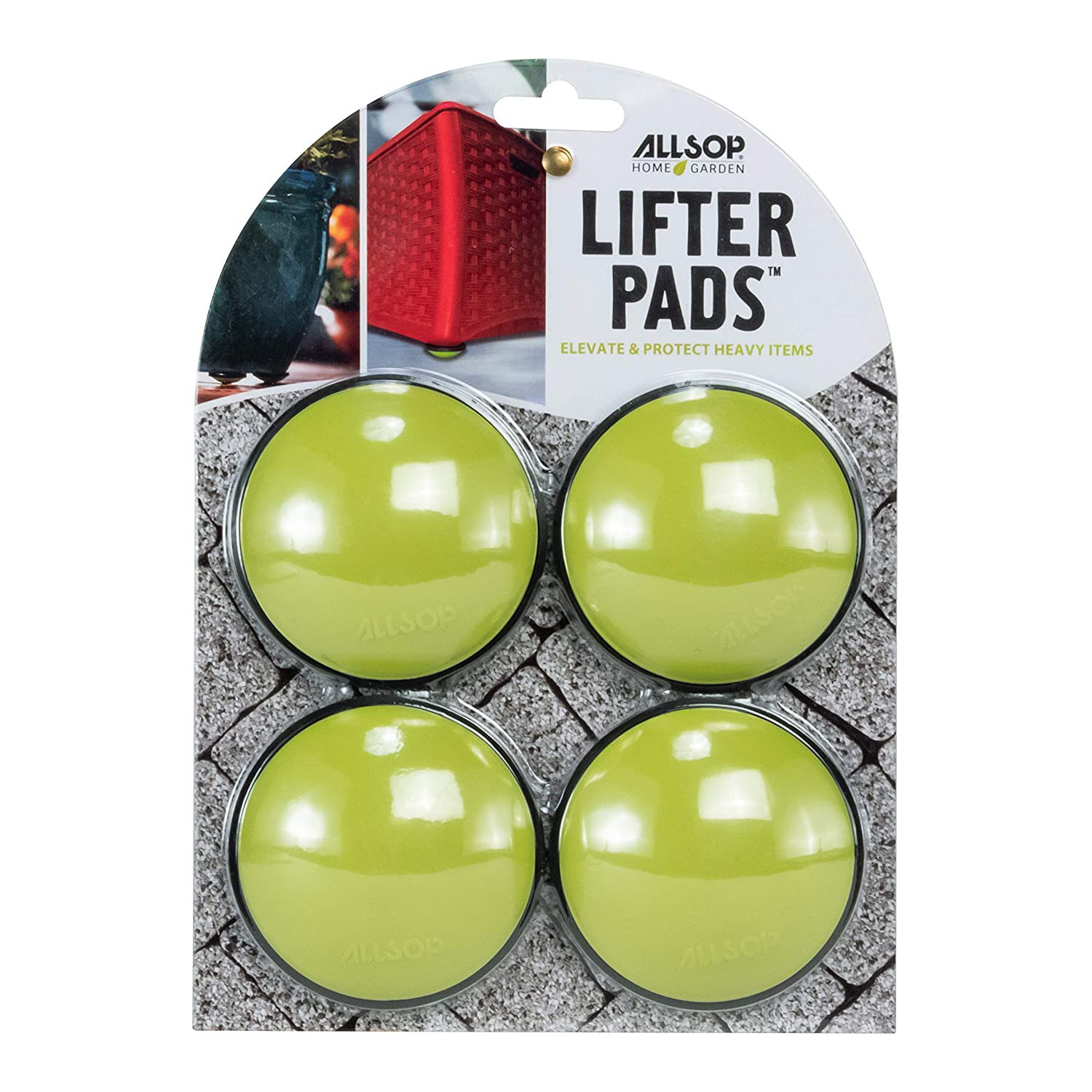 Allsop Home and Garden Lifter Pads, Protect Floors, Decks and Patios with 3,000 lbs rating, discreet non-skidpad lifters / risers / feet / toes, (Lime, Set of four, 1-Count)
