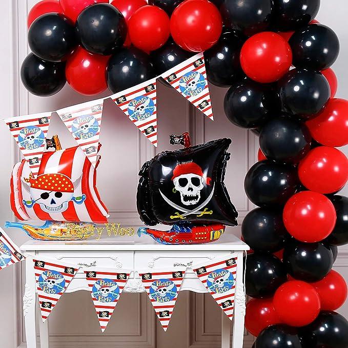43 Globos de látex en color rojo y negro tematica fiesta pirata + Globo de aluminio y pancarta de cumpleaños.