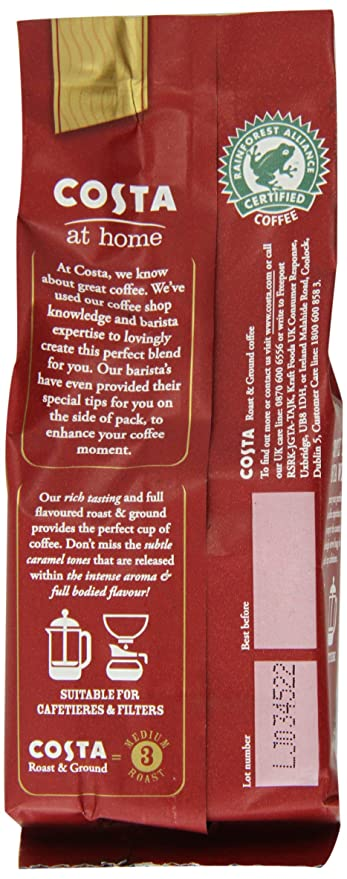 costa roast and ground coffee 52 g bag pack of 20 amazon co uk grocery
