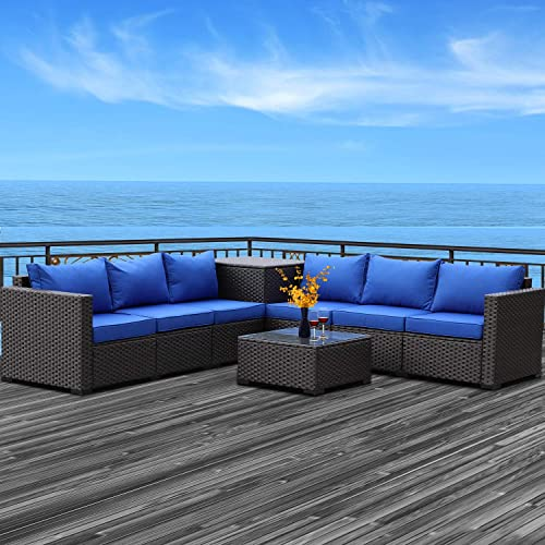 Patio PE Wicker Furniture Set 6 Piece Outdoor Brown Rattan Sectional Loveseat Couch Conversation Sofa
