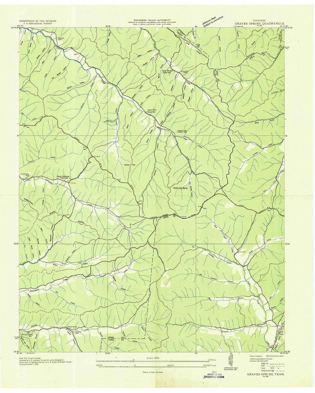 Amazon.com: Tennessee Maps | 1936 Graves Spring, TN USGS ...