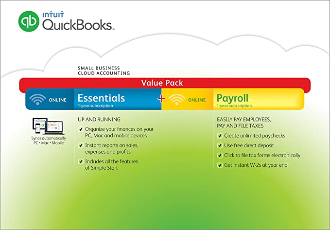 QuickBooks Online Essentials Small Business Accounting Software with  Payroll (PC/Mac) (Old Version)