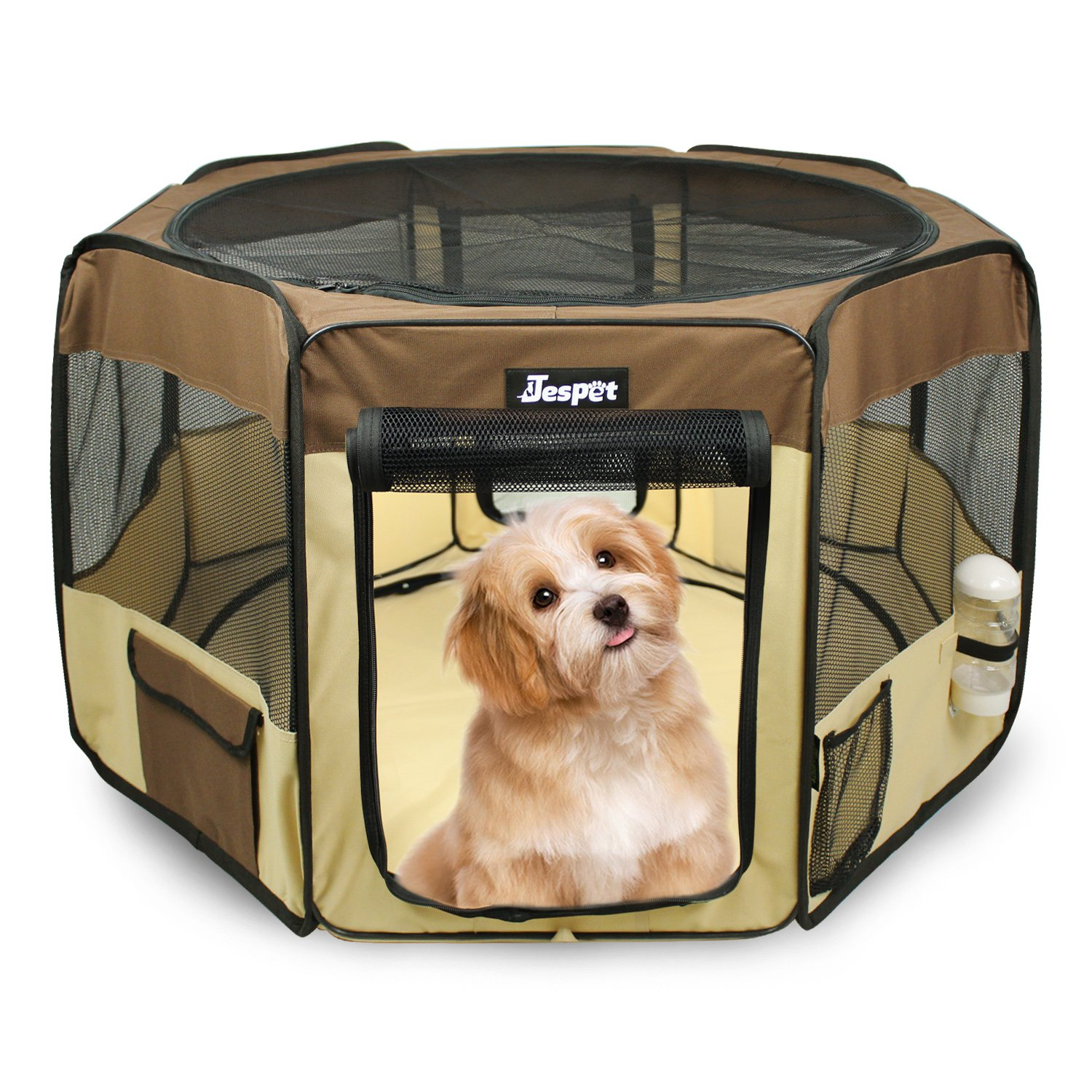 Jespet 61'' Pet Dog Playpens, Portable Soft Dog Exercise Pen Kennel with Carry Bag for Puppy Cats Kittens Rabbits,Brown by Jespet