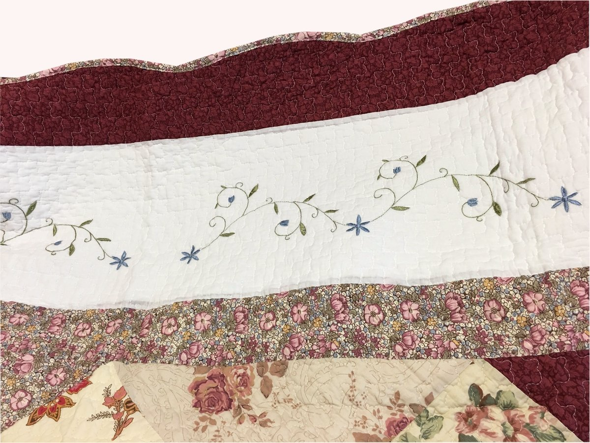 Cozy Line Home Fashions Floral Real Patchwork Burgundy Red Coral Pink Country, 100% COTTON Quilt Bedding Set, Reversible Coverlet Bedspread, Scalloped Edge,Gifts for Women (Georgia, Twin - 2 piece) by Cozy Line Home Fashions (Image #3)