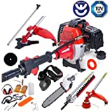 BU-KO 2018 52cc Long Reach Petrol Multi Functional Garden Tool Including: Strimmer, Hedge Trimmer, Pruner Chainsaw, Brush Cutter with 2.4mm Thick Trimmer Line & Extension Pole