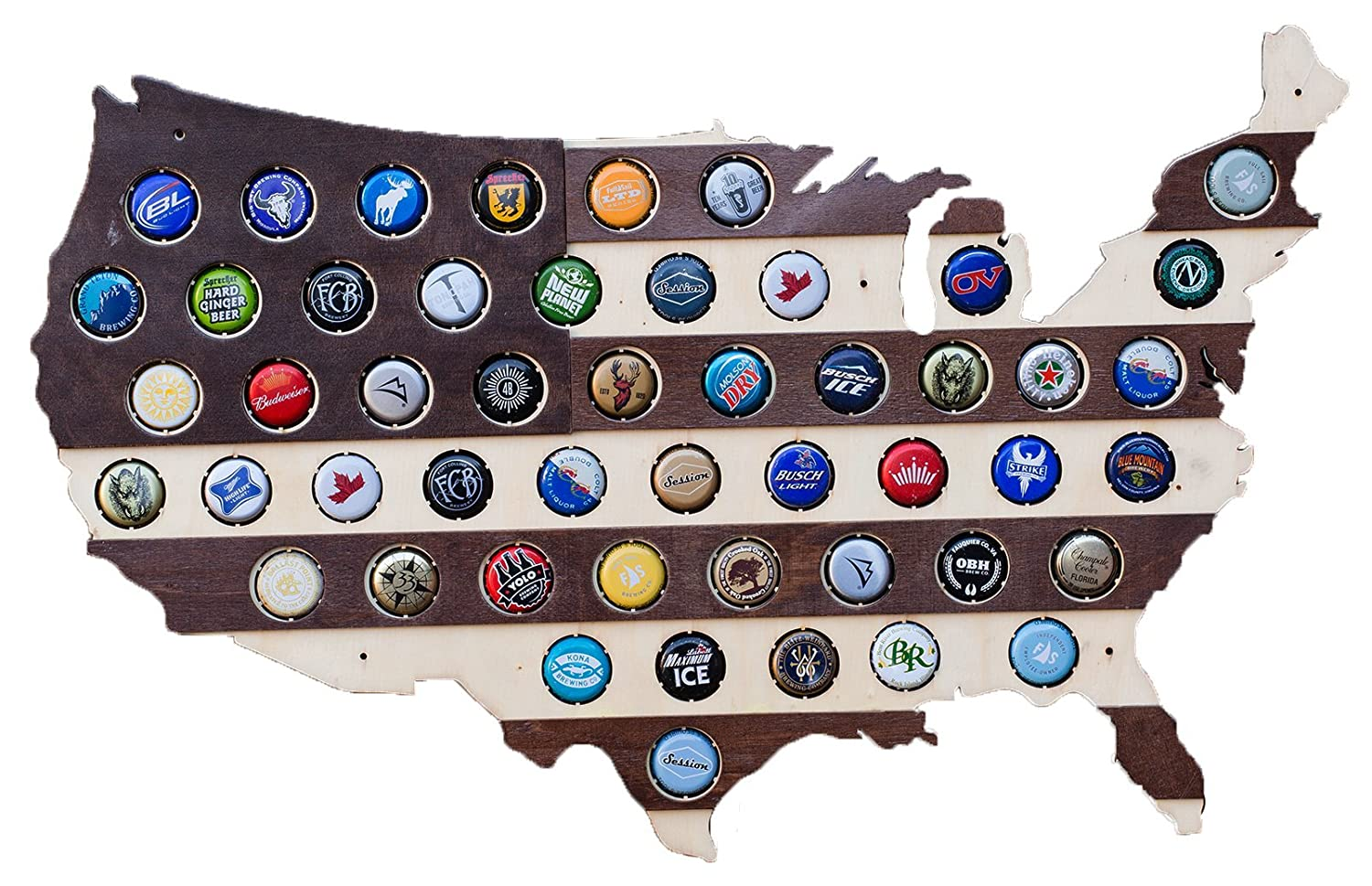 Striped USA Beer Cap Map - Holds 50 Craft Beer Bottle Caps - Guy Gifts (Dark Stripes) USA_Stripes