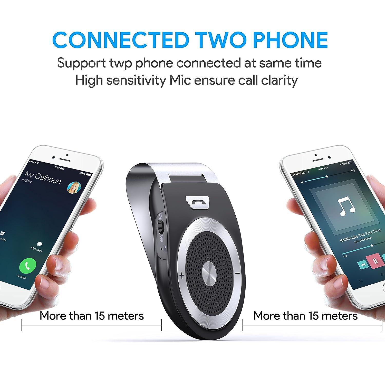Handsfree Bluetooth Car Kit Wireless SpeakerPhone for the sun visor zhuanjiao Kit Mains Libres pour Voiture Bluetooth 4.1 Allumage Automatique par capteur de mouvement int/égr/é,Support du GPS Kit de pare-soleil Appairage avec 2 t/&ea Musique