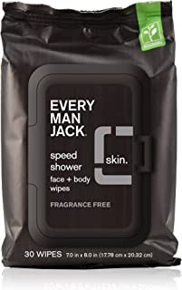 product image for Every Man Jack Speed Shower Face + Body Wipes, Fragrance Free, 30-count