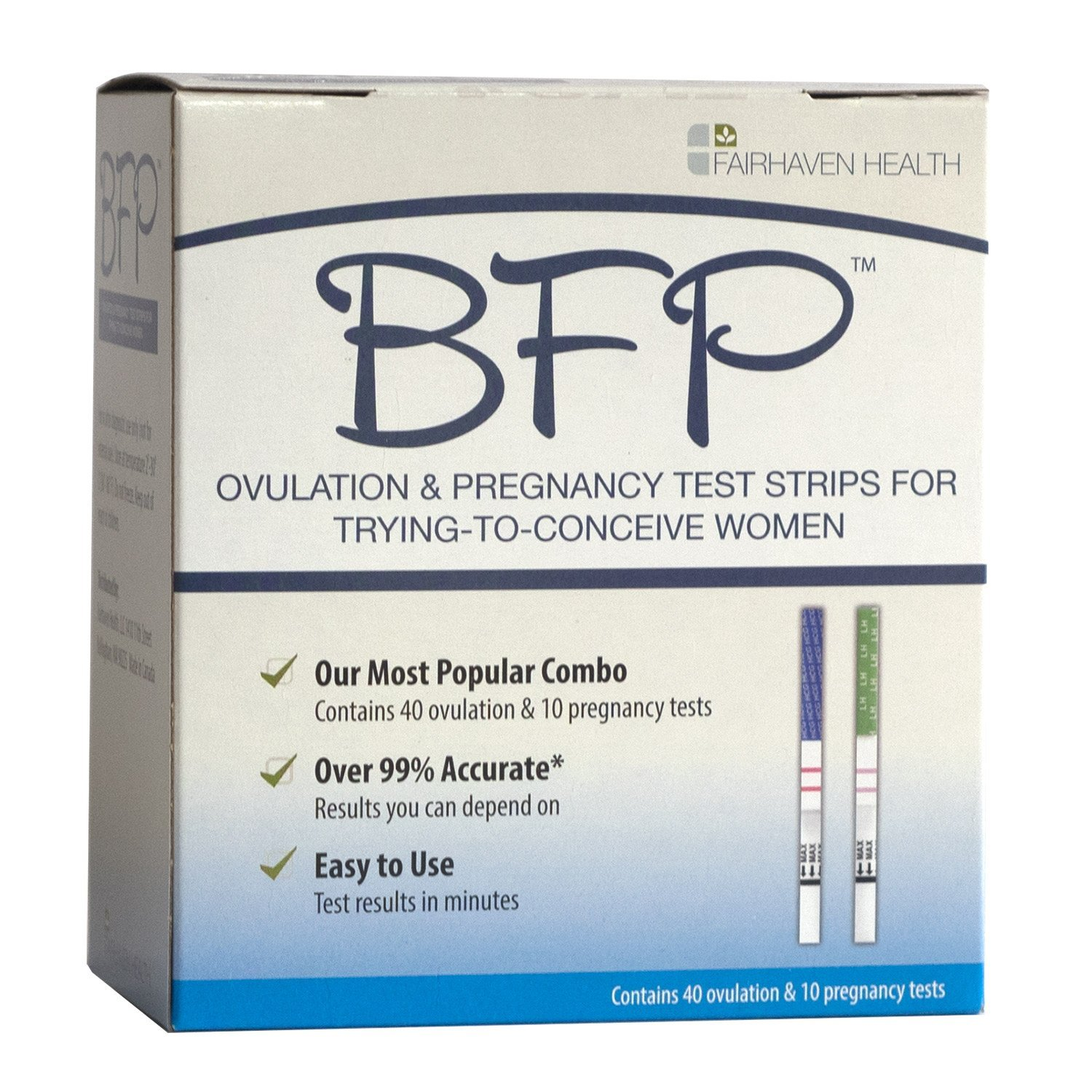 BFP Ovulation & Pregnancy Test Strips, Made in N. America, 40 LH Ovulation & 10 hcg Pregnancy Tests - Early Predictor Kit for Fertility by Fairhaven Health