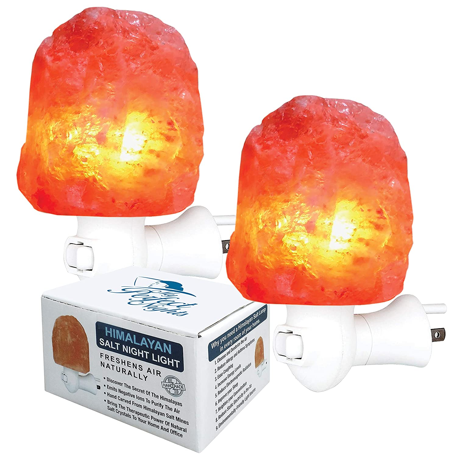 Himalayan Salt Lamp Night Light from Pakistan Natural Hand Carved 100% Pure Authentic Ionic Pink Salt Crystals use in Bedroom Family Room Hallway Office by My Perfect Nights 2 Pack