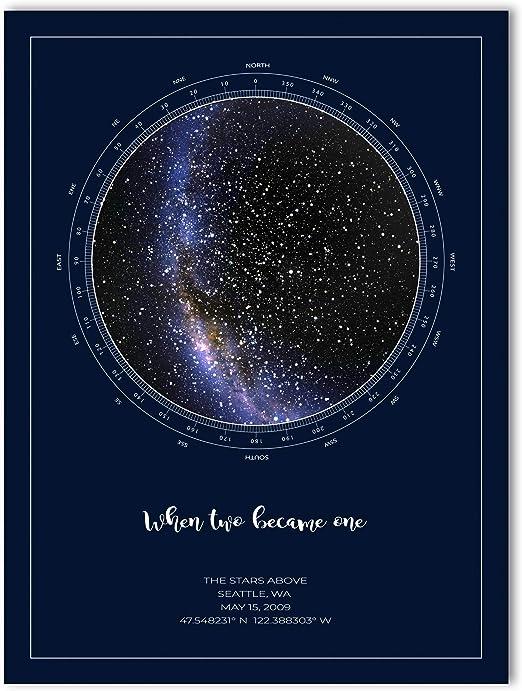 Night Sky Star Map Amazon.com: The Stars Above Co Custom Star Map, Realistic Night