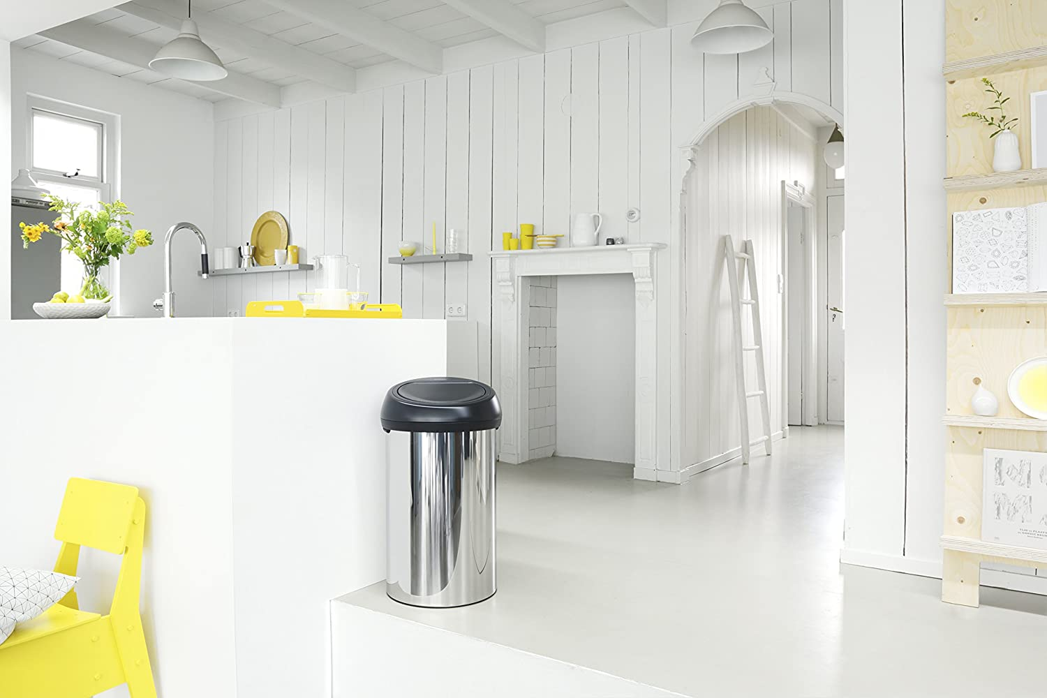 Brabantia 60 Litre Touch Bin - Brilliant Steel with Matt Black Lid