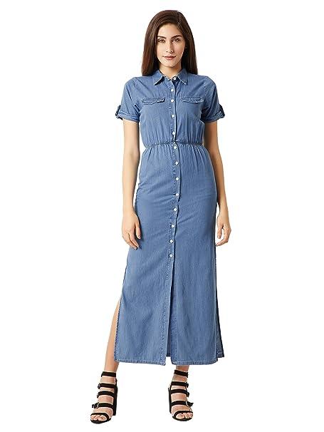 e178dee0a3d Miss Chase Women s Blue Maxi Denim Shirt Dress(MCAW17DEN04-03-158 -03 Blue Small