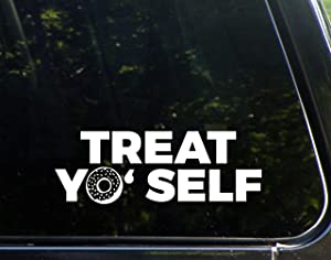 "Diamond Graphics Treat Yo' Self - with Donut (8-3/4"" x 3"") Die Cut Decal Bumper Sticker for Windows, Cars, Trucks, Laptops, Etc."