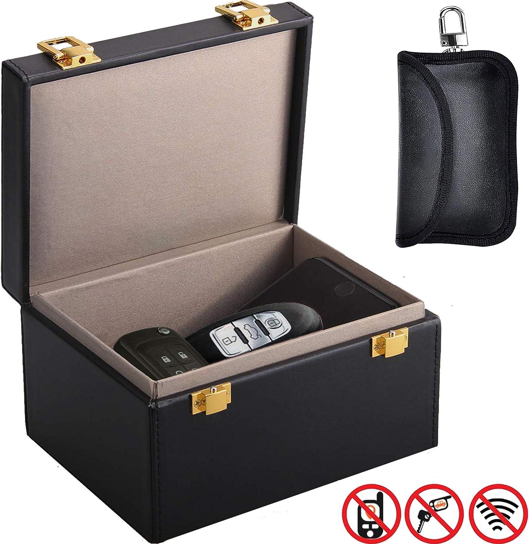 Relay Attack Prevention Blocks Keyless Entry Car Keys Being Scanned Faraday Box Car Key Signal Blocker Box /& Spare Key Faraday Pouch RFID Blocking Anti-Theft Security Case by Glenbarn