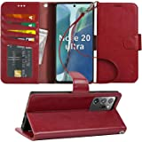 Arae Wallet Case for Samsung Galaxy Note 20 Ultra with Wrist Strap and Credit Card Holders - Wine red