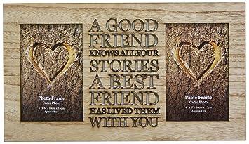 Portaretrato de amistad para 2 fotos de 10 cm x 15 cm, hecho madera rústica de doble pliegue: Amazon.es: Hogar