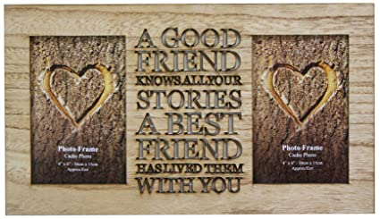 Portaretrato de amistad para 2 fotos de 10 cm x 15 cm, hecho madera rústica