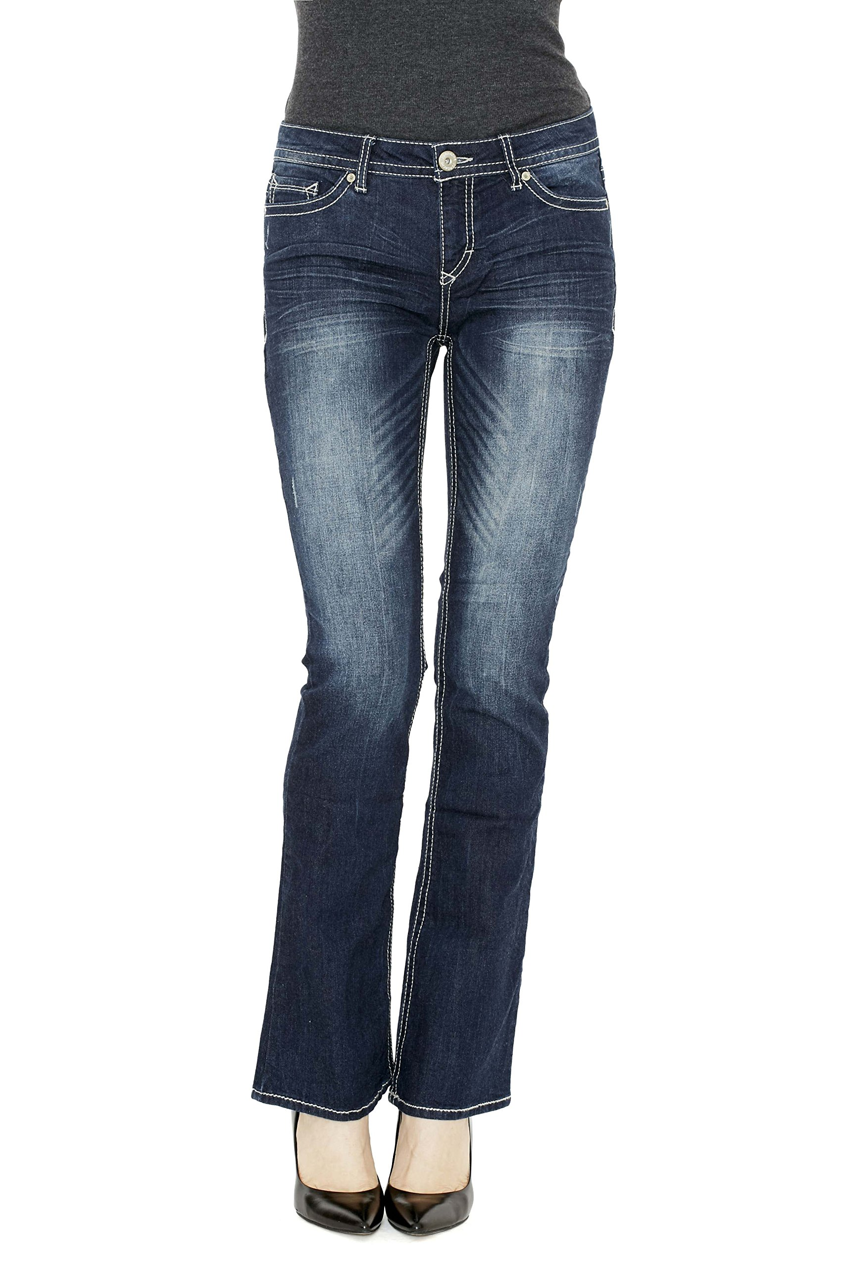 Stylish Designer Jeans Premium Stretch Slim Boot Denim Jeans for Women Mid Rise (14, Darkwash)