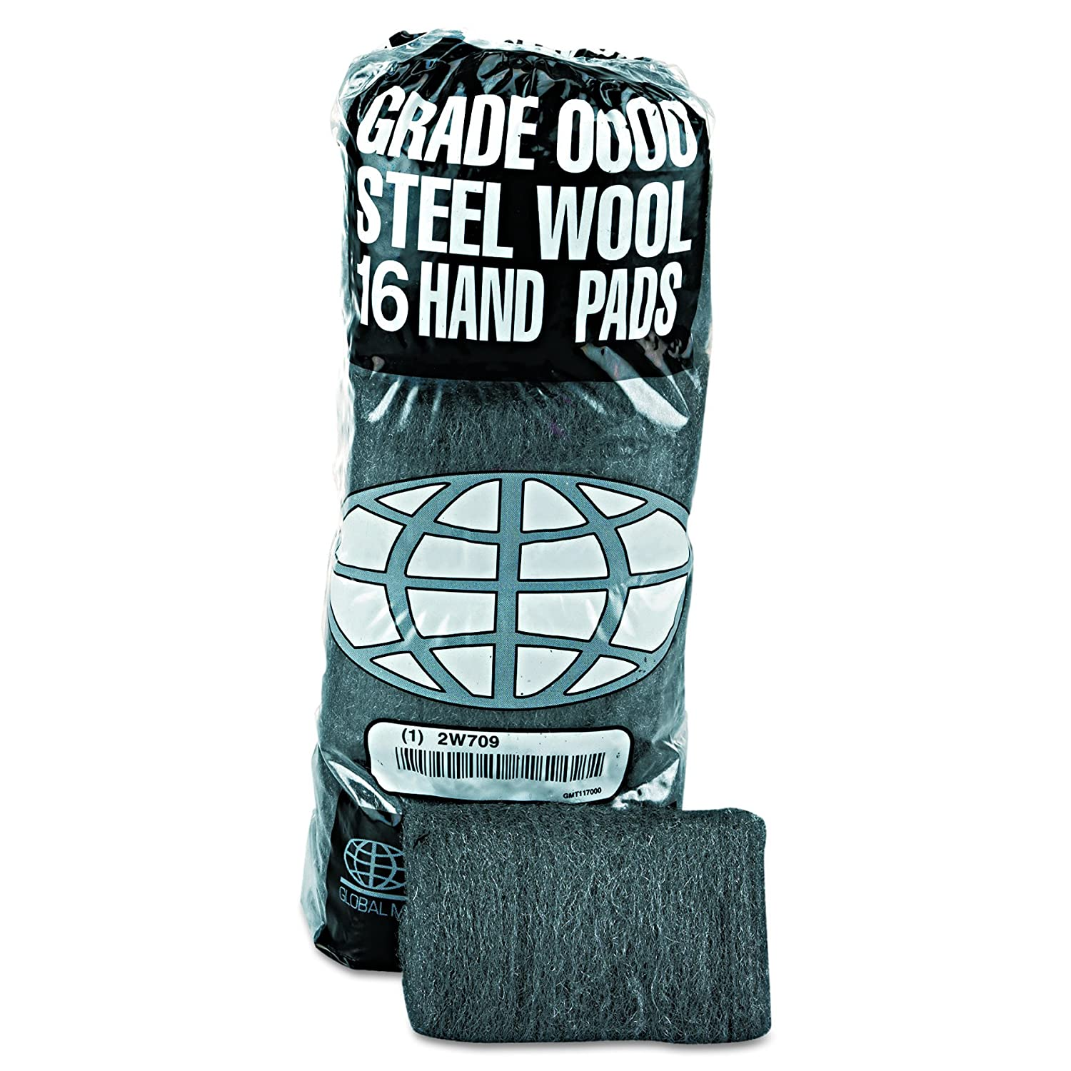 GMT 117000 Industrial-Quality Steel Wool Hand Pad Super Fine Grade 0000 16-Pack Case of 12