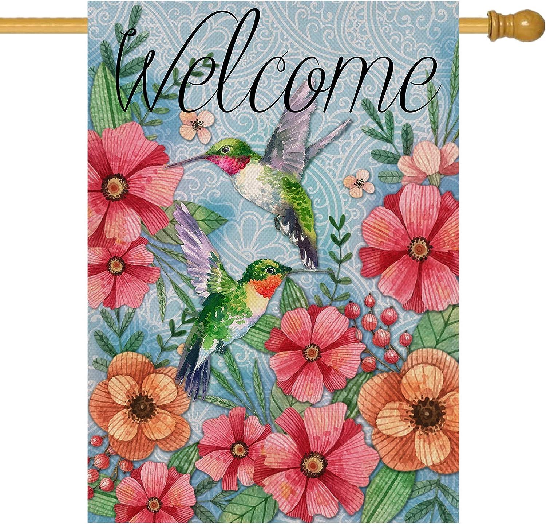 Hzppyz Welcome Spring House Flag Hummingbird, Decorative Garden Yard Lawn Outdoor Big Burlap Bird Flag Flower Decor, Vintage Summer Farmhouse Seasonal Outside Decorations Double Sided 28 x 40