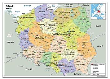 Polen Karte.Polen Politische Karte Papier Laminiert Ga A1 Size 59 4 X 84 1