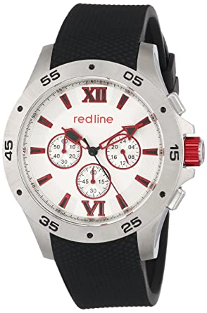 amazon com red line men s rl 60028 chronograph silver dial black