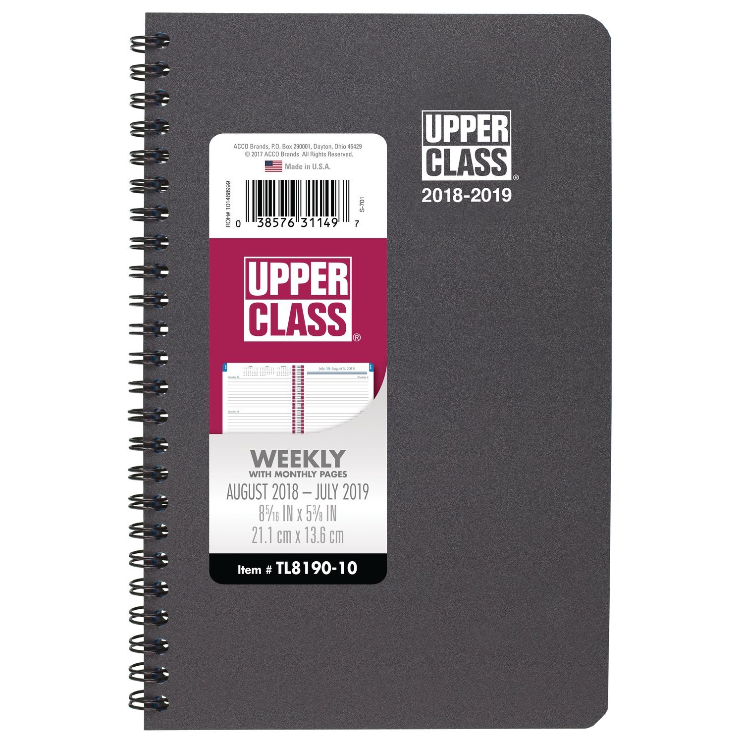Upper Class 2018-2019 Academic Year Student Weekly & Monthly Planner, Small, 5-3/8 x 8-5/16, Gray (TL819007)