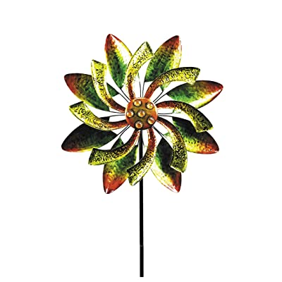 """Alpine Corporation Dual Floral Windmill Stake with Gems - Kinetic Spinner - Outdoor Yard Art Decor - Green and Orange - 22"""" x 7"""" x 65"""" : Garden & Outdoor"""