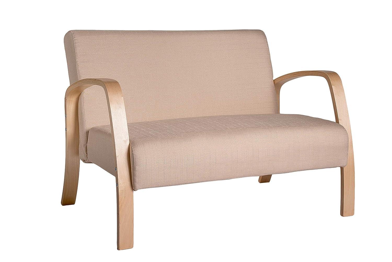 Beige Dimensioni 112 x 85 x 81 Cm Enrico Coveri Contemporary Divano 2 Posti con Struttura in Legno e Tessutto Imbottito Moderno,Elegante e Salvaspazio