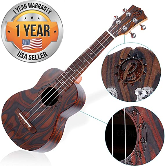 Solid Wood Mahogany Soprano Ukulele - High Quality Professional Instrument with Flamed Brown Body